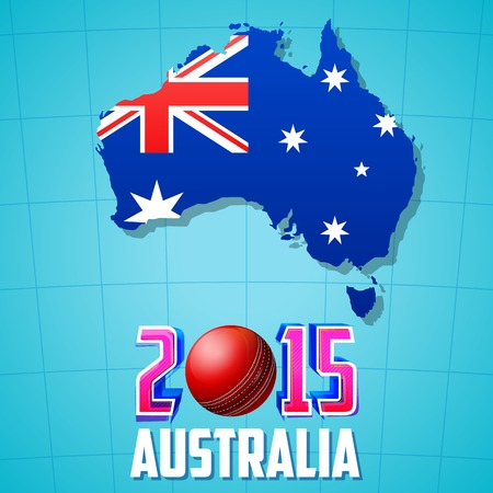 illustration of 2015 Cricket with Australia map and flag Vector
