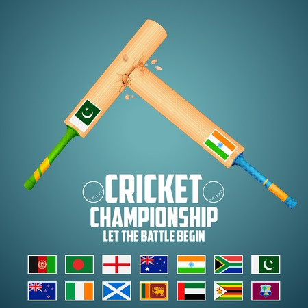 rivalry: illustration of cricket bat of different participating countries Illustration