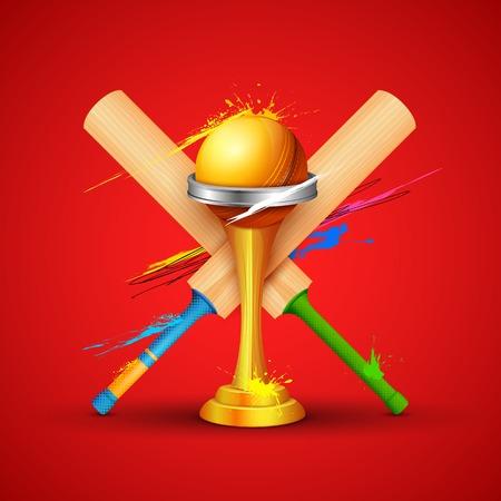 cricket bat: illustration of golden trophy with cricket bat