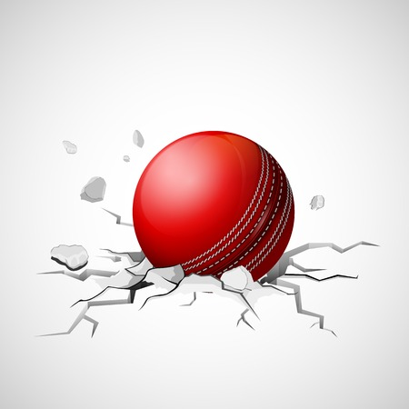 collapsed: illustration of cricket ball falling on ground making crack Illustration