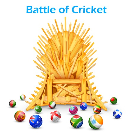 cricket bat: illustration of cricket bat throne with different participating countries
