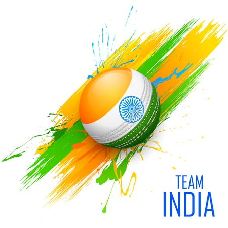 english culture: illustration of cricket ball in grungy India background