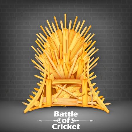 participacion: ilustraci�n del Trono hecha de palos de cricket Vectores