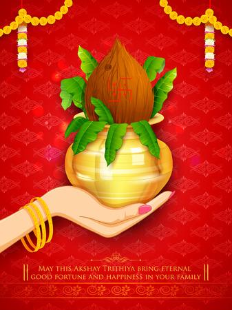 mango: Ilustracja z ręki trzymającej mangal Kalash dla Akshay Tritiya uroczystości