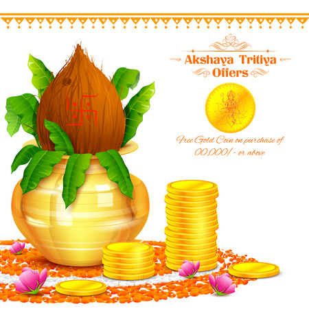 kalasha: illustration of background for Akshay Tritiya celebration
