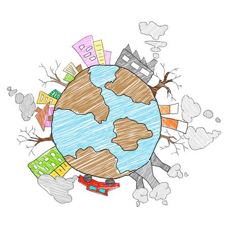 globe terrestre dessin: illustration de concept de sauver la Terre Jour de la Terre