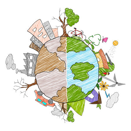 illustration of Earth as green environment and distructed Vettoriali