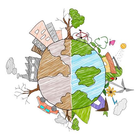 calentamiento global: ilustración de la Tierra como entorno verde y distructed