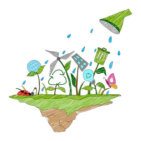 globe terrestre dessin: illustration de concept de Jour de la Terre pour un avenir sain