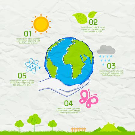 globe terrestre dessin: illustration de Jour de la Terre fond sur papier froiss�