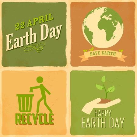 globe terrestre dessin: illustration de Jour de la Terre fond dans le style r�tro