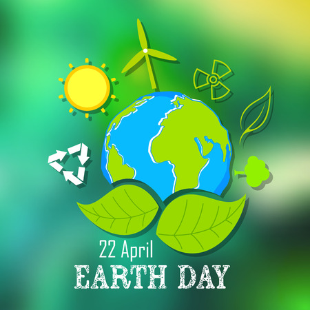world earth day: illustration of Earth Day concept with Gl