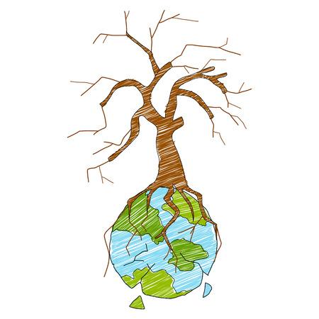 sequias: ilustración de la Tierra con el árbol seco que muestra Distruction Vectores