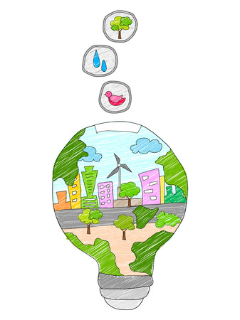 illustration of save energy concept for happy future Vector