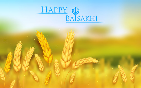 paddy: illustration of Happy Baisakhi background with paddy field Illustration