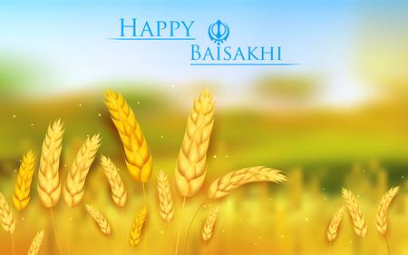 illustrazione di Happy Baisakhi sfondo con risaia Vettoriali
