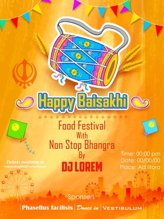 punjab: illustration of Happy Baisakhi background