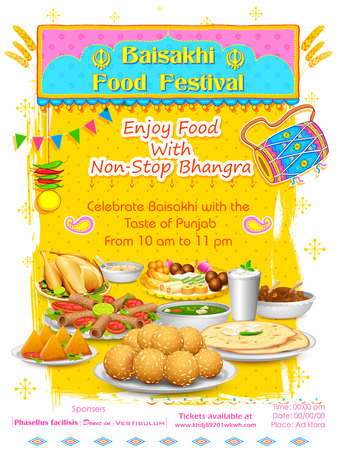 indian food: illustration of Happy Baisakhi Food festival background