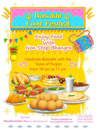 Ilustracja szczęśliwy Baisakhi Żywności festiwalu tle