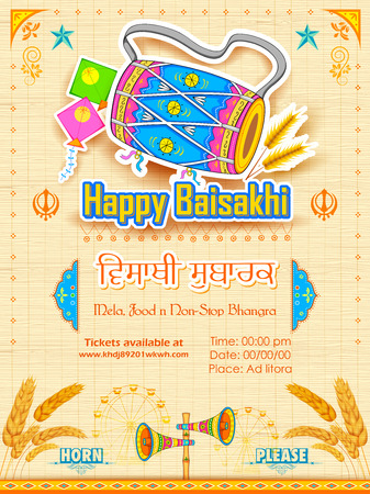 festival people: illustration of Happy Baisakhi background