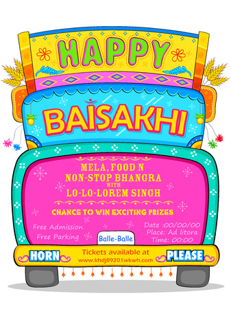 indian food: illustration of Happy Baisakhi background
