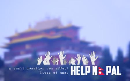 quake: illustration of Nepal earthquake 2015 help and donation
