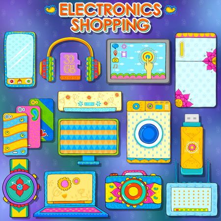kitsch: illustration of electronics gadget shopping in Indian kitsch style