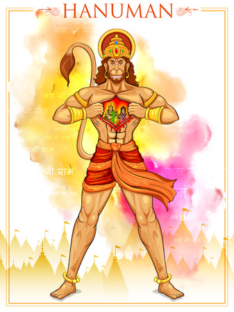 popular belief: illustration of Lord Hanuman on abstract background