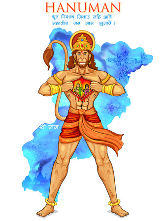 ramayana: illustration of Lord Hanuman on abstract background