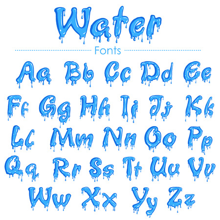 illustration of English font in water texture