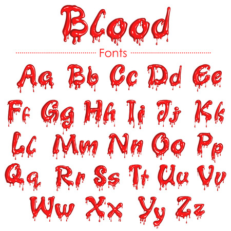 splatter: illustration of set of English font in blood texture Illustration