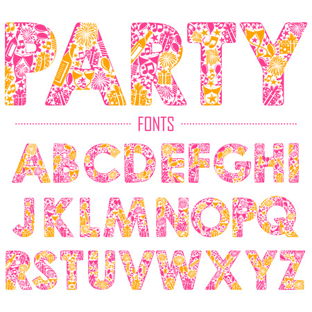 d a r e: illustration of set of English alphabet for party design Illustration