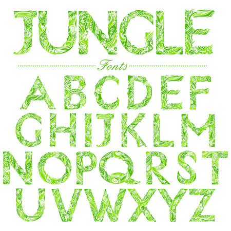 capitals: illustration of set of English font in Jungle style swirl