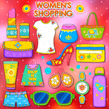 kitsch: illustration of shopping concept in Indian kitsch style