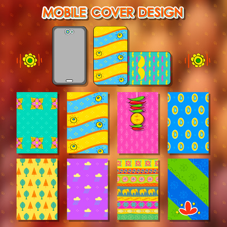 kitsch: illustration of design in Indian kitsch style mobile cover template Illustration