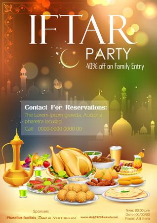 comida arabe: ilustración de deliciosos platos para el banquete de iftar