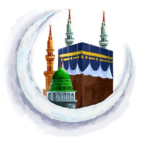 巡礼: ラマダン カリーム (寛大なラマダン) 背景の月のカーバ神殿の図  イラスト・ベクター素材