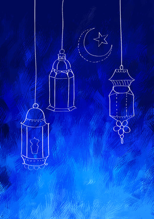 culture: illustration of illuminated lamp on Eid Mubarak (Happy Eid) background