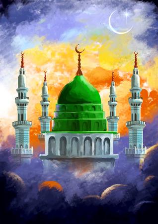 illustratie van Ramadan Kareem (Generous Ramadan) achtergrond