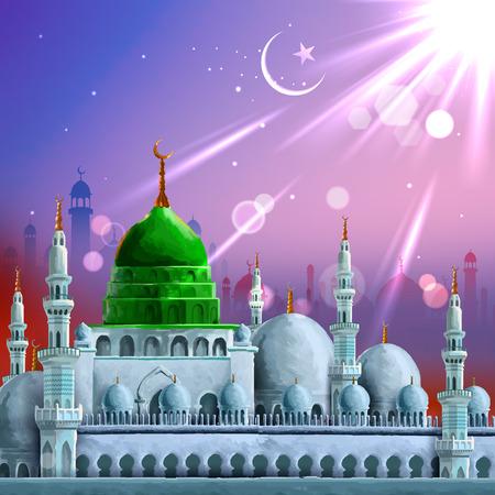 ilustración del Ramadán Kareem (Ramadán generoso) de fondo