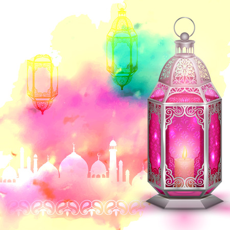 ul: illustration of Ramadan Kareem (Generous Ramadan) greeting with illuminated lamp