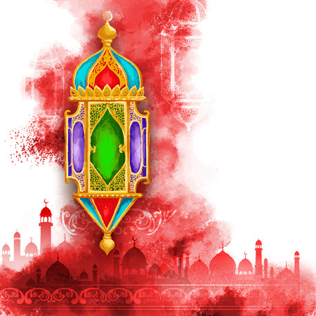 illustration of Ramadan Kareem (Generous Ramadan) greeting with illuminated lamp