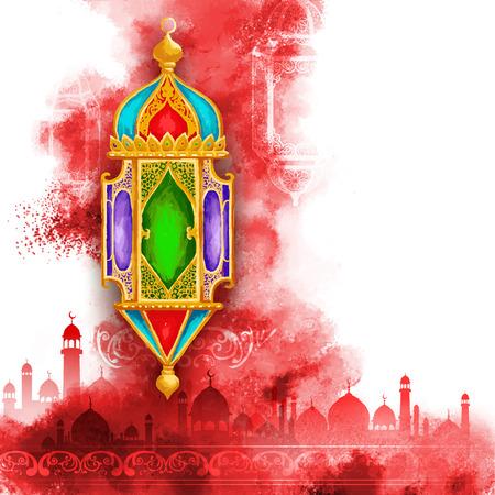 faroles: ilustración del Ramadán Kareem (Ramadán Generoso) saludando con la lámpara de iluminación