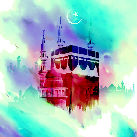 illustration of Eid Mubarak (Happy Eid) background with Kaaba Ilustração