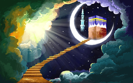 iftar: illustration of Eid Mubarak (Happy Eid) background with Kaaba Illustration