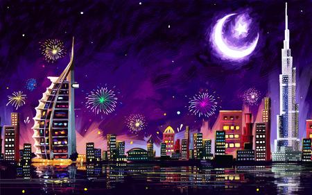 celebração: ilustração de Eid Celebration Dubai nightscape da cidade Ilustração