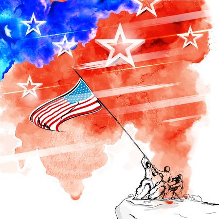 アメリカの幸せな独立記念日の 7 月 4 日の背景のイラスト  イラスト・ベクター素材