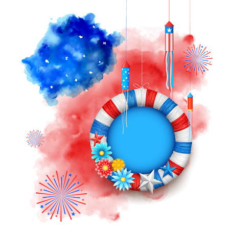 american flag fireworks: illustration of Fourth of July background for Happy Independence Day of America