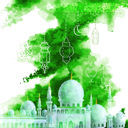 holiday celebrations: illustration of Grungy Eid Mubarak (Happy Eid) Background with mosque
