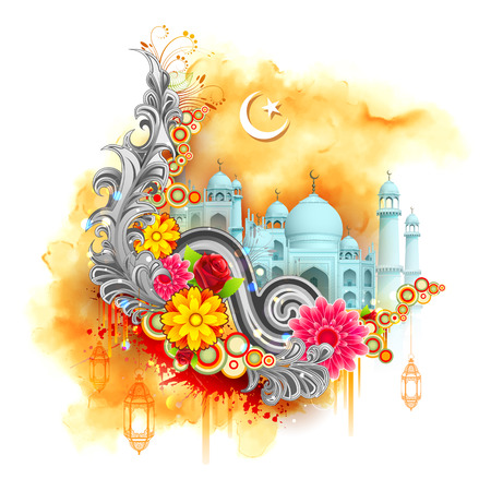 generoso: ilustraci�n del Ramad�n Kareem (Generoso Ramad�n) de fondo con la mezquita